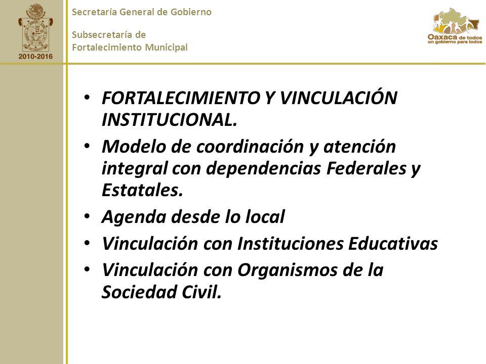 FORTALECIMIENTO Y VINCULACIÓN INSTITUCIONAL.
