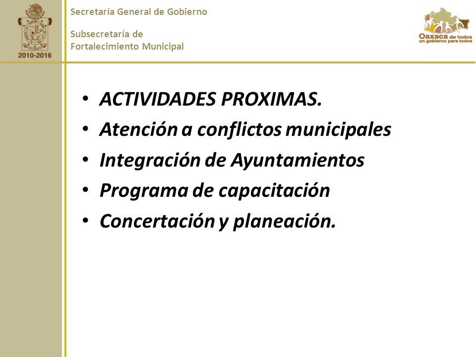 ACTIVIDADES PROXIMAS.