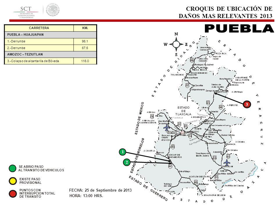 CROQUIS DE UBICACIÓN DE DAÑOS MAS RELEVANTES 2013 3 FECHA: 25 de Septiembre de 2013 HORA: 13:00 HRS. EXISTE PASO PROVISIONAL PUNTOS CON INTERRUPCION T