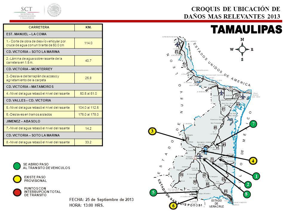 CROQUIS DE UBICACIÓN DE DAÑOS MAS RELEVANTES 2013 CARRETERAKM. EST. MANUEL – LA COMA 1.- Corte de obra de desvío vehicular por cruce de agua con un ti