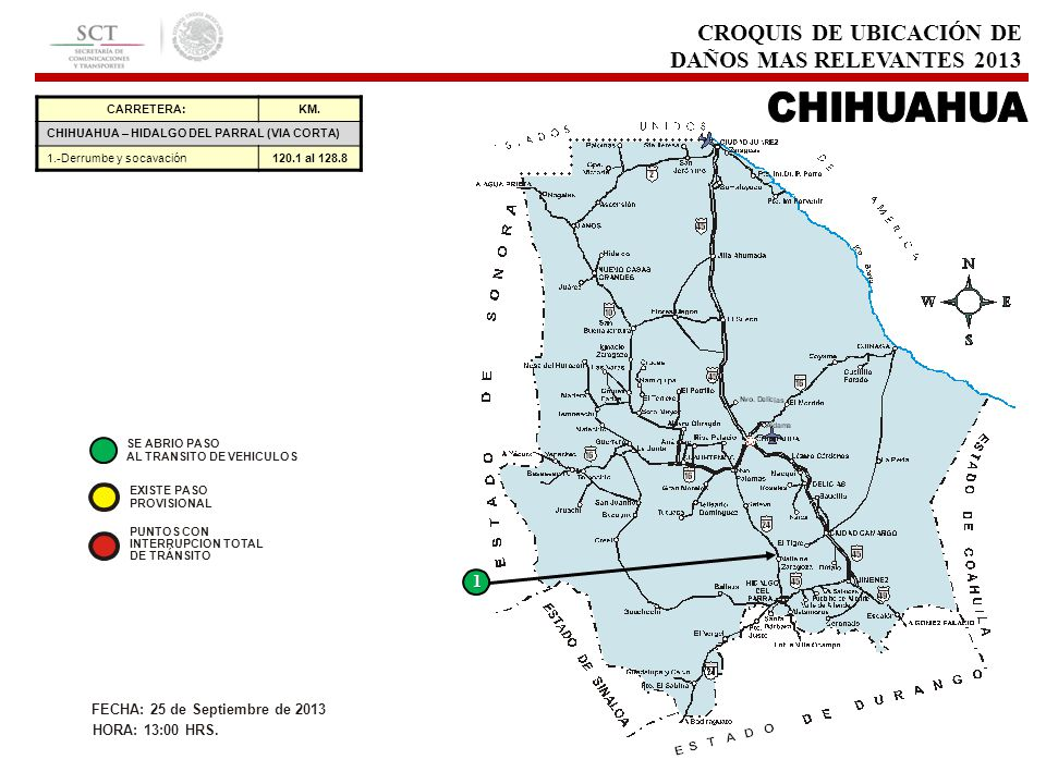 CARRETERA:KM. CHIHUAHUA – HIDALGO DEL PARRAL (VIA CORTA) 1.-Derrumbe y socavación120.1 al 128.8 1 CROQUIS DE UBICACIÓN DE DAÑOS MAS RELEVANTES 2013 EX