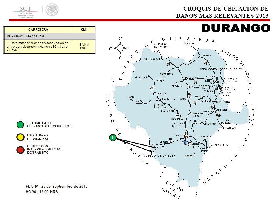 CROQUIS DE UBICACIÓN DE DAÑOS MAS RELEVANTES 2013 CARRETERAKM.