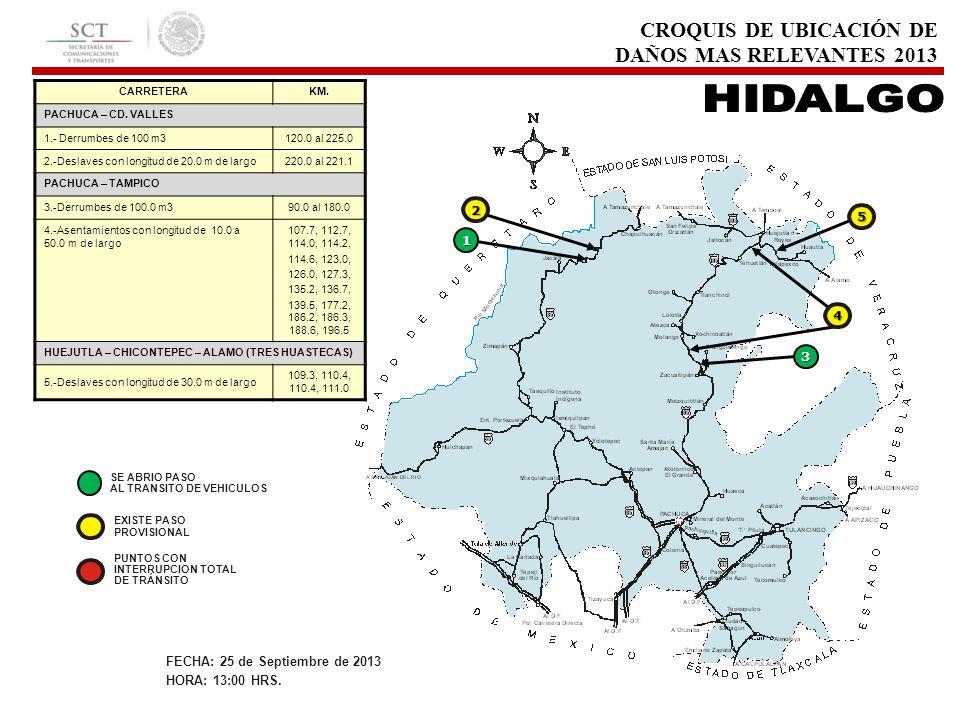 CROQUIS DE UBICACIÓN DE DAÑOS MAS RELEVANTES 2013 CARRETERAKM. PACHUCA – CD. VALLES 1.- Derrumbes de 100 m3120.0 al 225.0 2.-Deslaves con longitud de