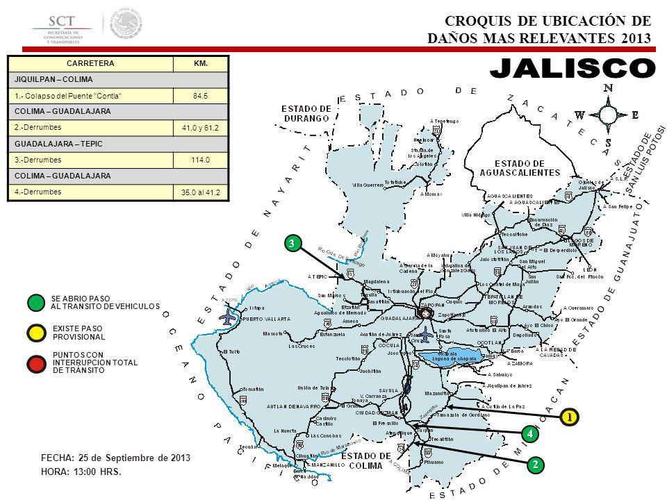 CROQUIS DE UBICACIÓN DE DAÑOS MAS RELEVANTES 2013 CARRETERAKM. JIQUILPAN – COLIMA 1.- Colapso del Puente