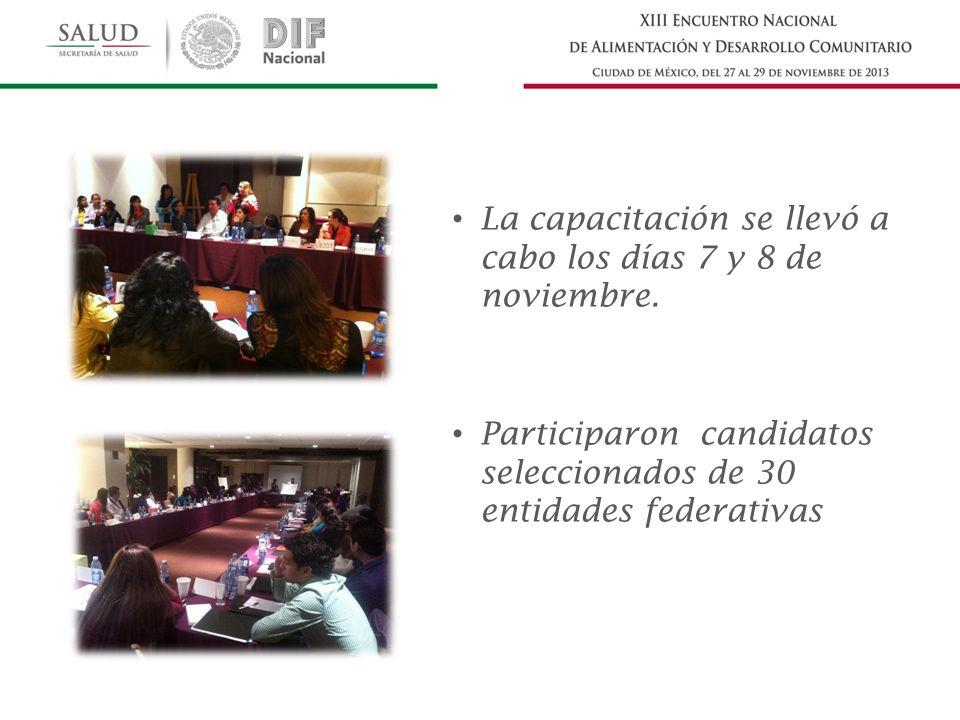 La capacitación se llevó a cabo los días 7 y 8 de noviembre. Participaron candidatos seleccionados de 30 entidades federativas