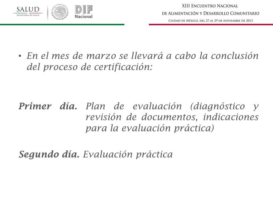 En el mes de marzo se llevará a cabo la conclusión del proceso de certificación: Primer día. Plan de evaluación (diagnóstico y revisión de documentos,