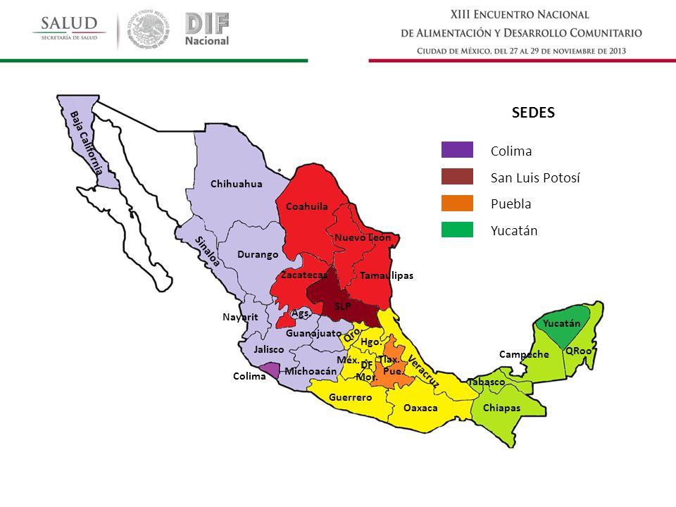 Baja California Chihuahua Coahuila Nuevo León Tamaulipas Sinaloa Durango Qro. Nayarit SLP Zacatecas Ags. Michoacán Colima Jalisco Chiapas Campeche QRo