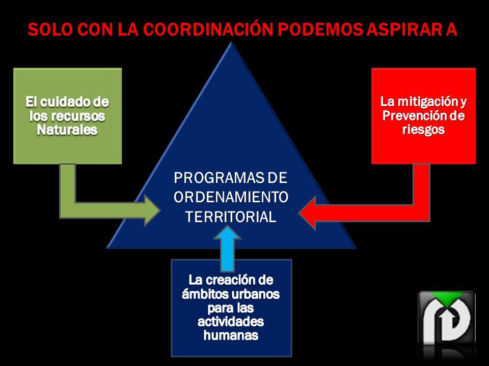SOLO CON LA COORDINACIÓN PODEMOS ASPIRAR A PROGRAMAS DE ORDENAMIENTO TERRITORIAL