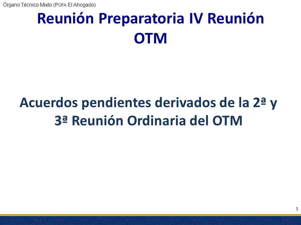 Órgano Técnico Mixto (P OFA El Ahogado) Acuerdos pendientes derivados de la 2ª y 3ª Reunión Ordinaria del OTM 3 Reunión Preparatoria IV Reunión OTM