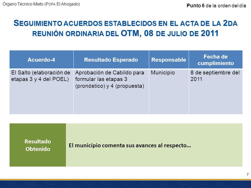 Órgano Técnico Mixto (P OFA El Ahogado) S EGUIMIENTO ACUERDOS ESTABLECIDOS EN EL ACTA DE LA 2 DA REUNIÓN ORDINARIA DEL OTM, 08 DE JULIO DE 2011 Acuerdo-4Resultado EsperadoResponsable Fecha de cumplimiento El Salto (elaboración de etapas 3 y 4 del POEL) Aprobación de Cabildo para formular las etapas 3 (pronóstico) y 4 (propuesta) Municipio8 de septiembre del 2011 Punto 6 de la orden del día Resultado Obtenido El municipio comenta sus avances al respecto… 7