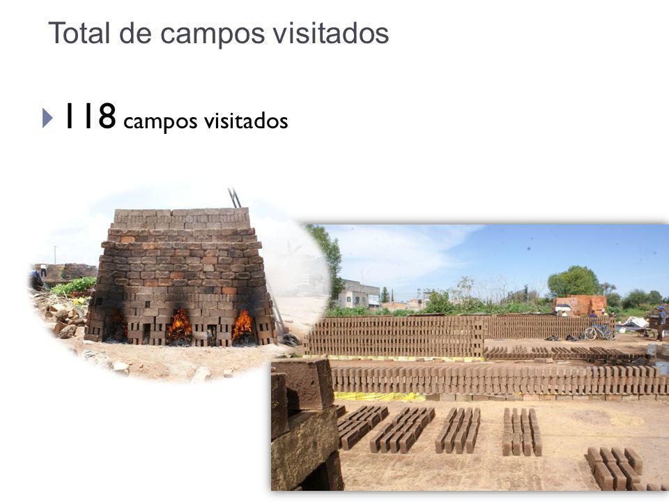 Total de campos visitados 118 campos visitados