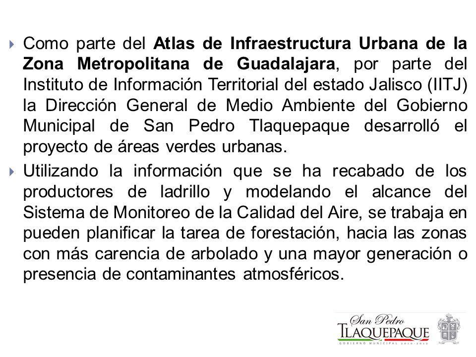 Como parte del Atlas de Infraestructura Urbana de la Zona Metropolitana de Guadalajara, por parte del Instituto de Información Territorial del estado Jalisco (IITJ) la Dirección General de Medio Ambiente del Gobierno Municipal de San Pedro Tlaquepaque desarrolló el proyecto de áreas verdes urbanas.