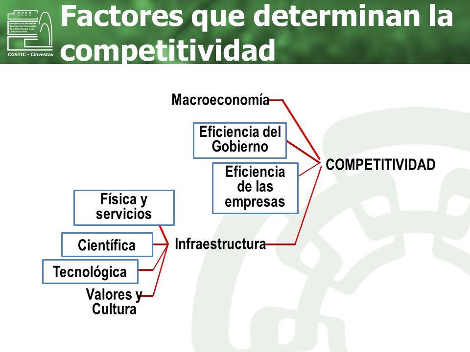 Factores que determinan la competitividad COMPETITIVIDAD Macroeconomía Eficiencia del Gobierno Eficiencia de las empresas Infraestructura Física y ser