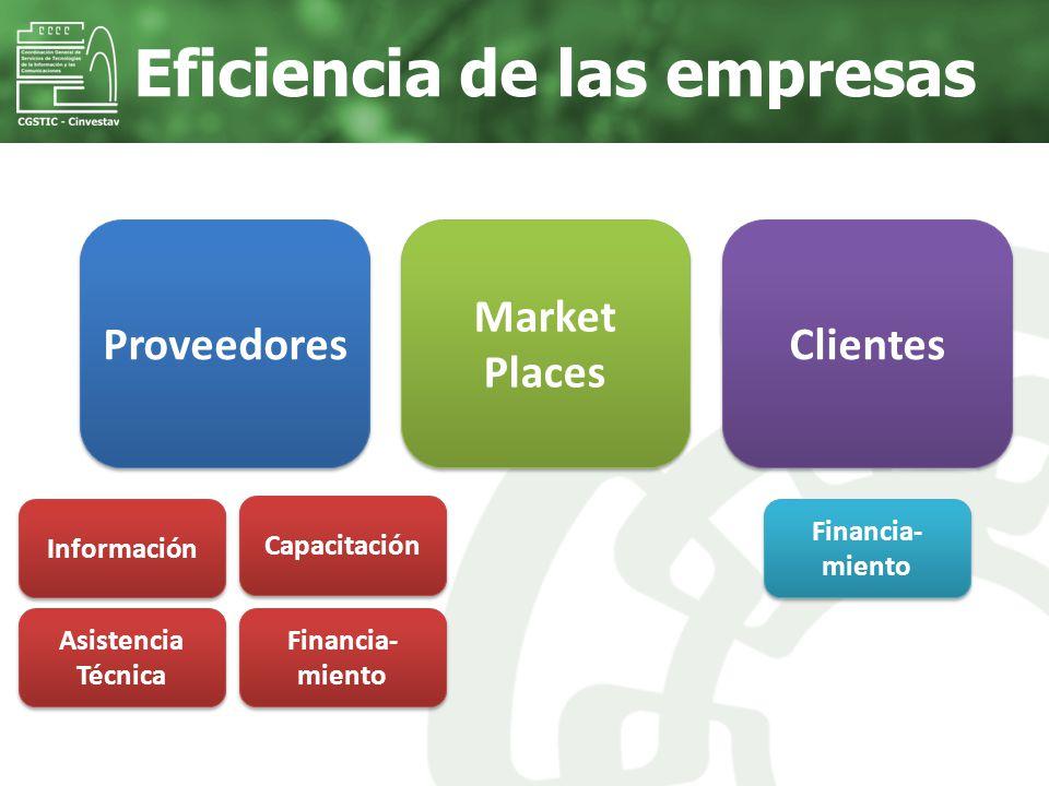 Eficiencia de las empresas Proveedores Información Capacitación Asistencia Técnica Financia- miento Market Places Clientes Financia- miento