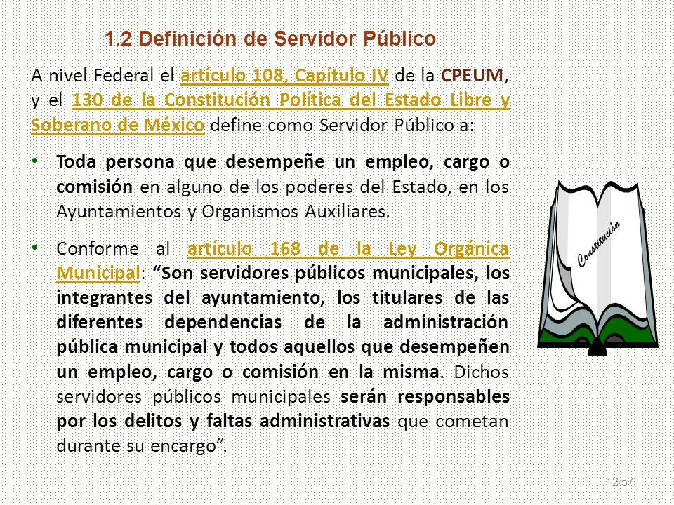 12/57 1.2 Definición de Servidor Público A nivel Federal el artículo 108, Capítulo IV de la CPEUM, y el 130 de la Constitución Política del Estado Lib