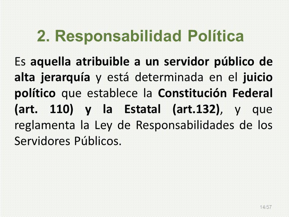 14/57 2. Responsabilidad Política Es aquella atribuible a un servidor público de alta jerarquía y está determinada en el juicio político que establece