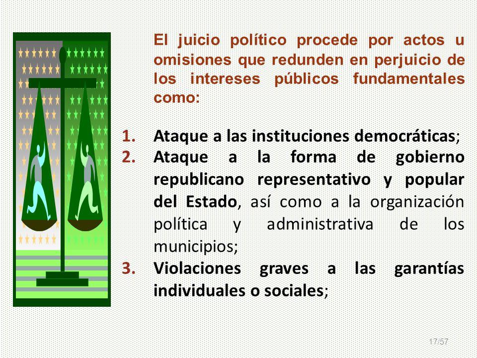 17/57 El juicio político procede por actos u omisiones que redunden en perjuicio de los intereses públicos fundamentales como: 1.Ataque a las instituc
