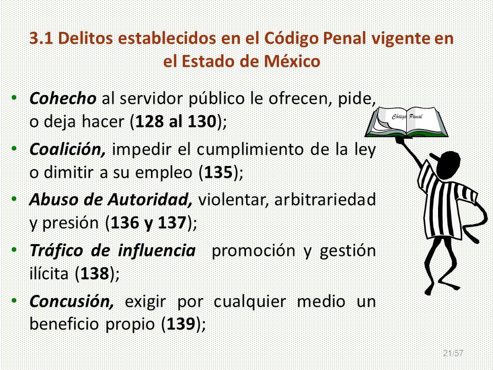 21/57 3.1 Delitos establecidos en el Código Penal vigente en el Estado de México Código Penal Cohecho al servidor público le ofrecen, pide, o deja hac