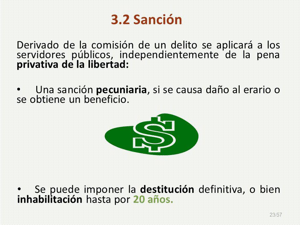 23/57 Derivado de la comisión de un delito se aplicará a los servidores públicos, independientemente de la pena privativa de la libertad: Una sanción