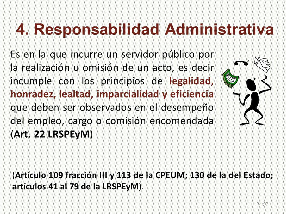 24/57 Es en la que incurre un servidor público por la realización u omisión de un acto, es decir incumple con los principios de legalidad, honradez, l