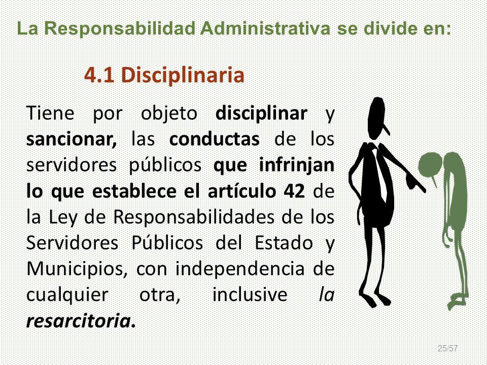 25/57 La Responsabilidad Administrativa se divide en: Tiene por objeto disciplinar y sancionar, las conductas de los servidores públicos que infrinjan
