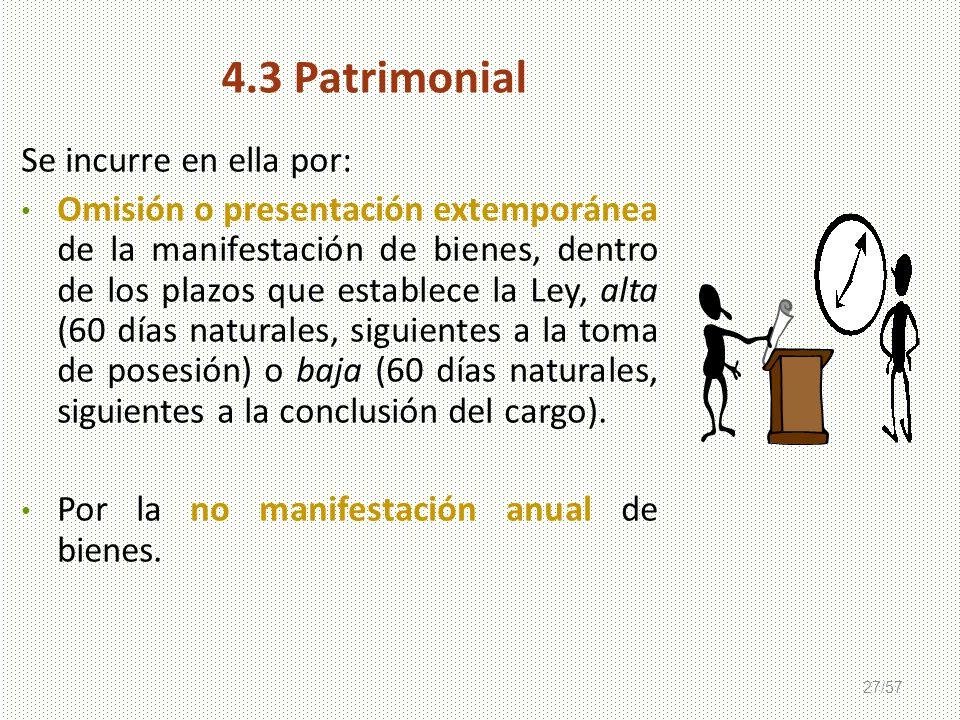 27/57 Se incurre en ella por: Omisión o presentación extemporánea de la manifestación de bienes, dentro de los plazos que establece la Ley, alta (60 d