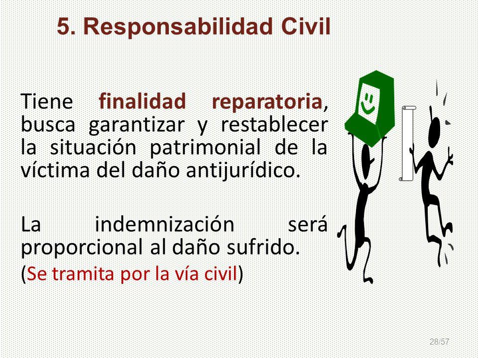 28/57 Tiene finalidad reparatoria, busca garantizar y restablecer la situación patrimonial de la víctima del daño antijurídico. La indemnización será