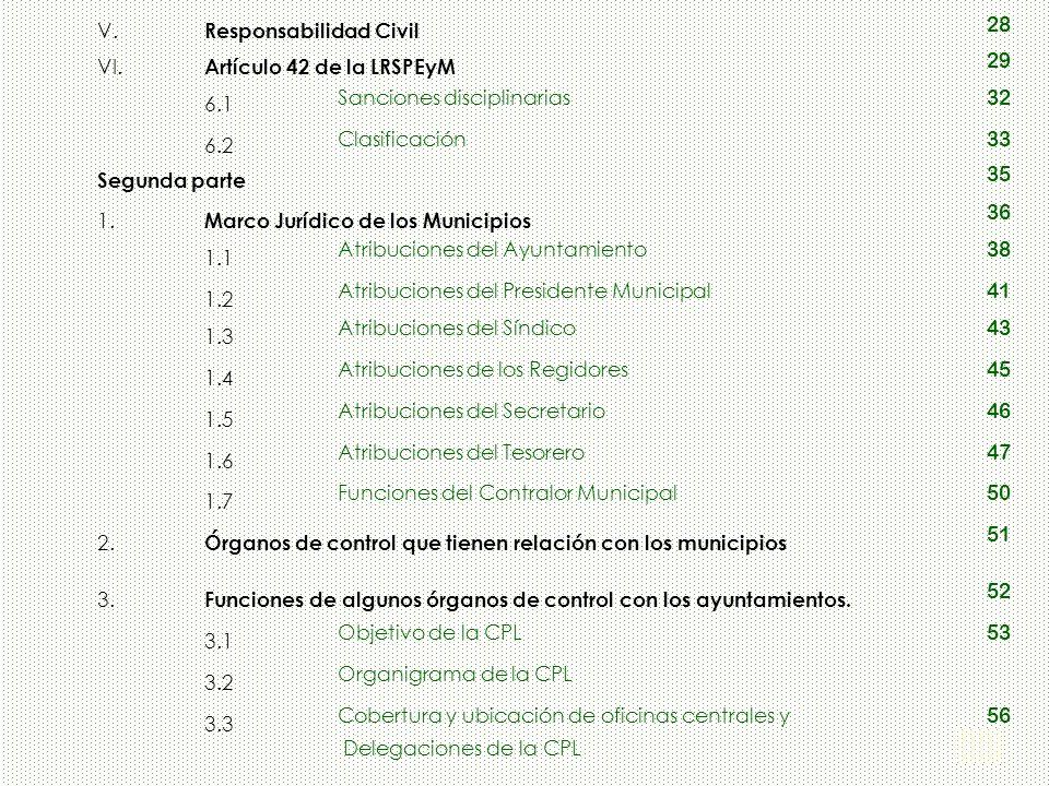 3 V. Responsabilidad Civil 28 VI. Artículo 42 de la LRSPEyM 29 6.1 Sanciones disciplinarias 32 6.2 Clasificación 33 Segunda parte 35 1. Marco Jurídico