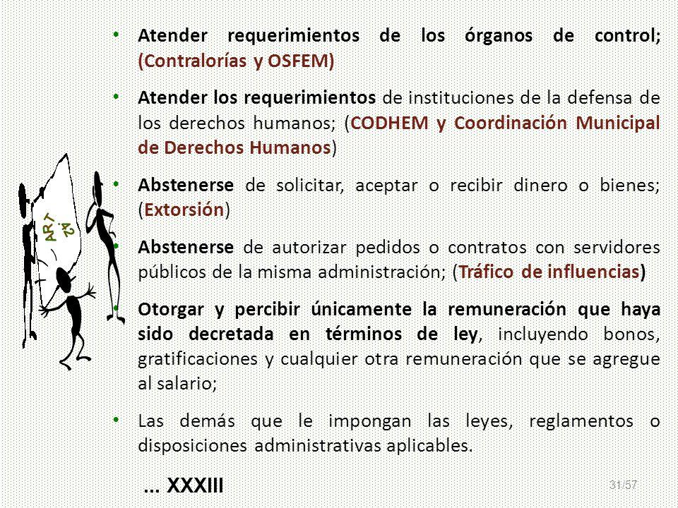 31/57 Atender requerimientos de los órganos de control; (Contralorías y OSFEM) Atender los requerimientos de instituciones de la defensa de los derech