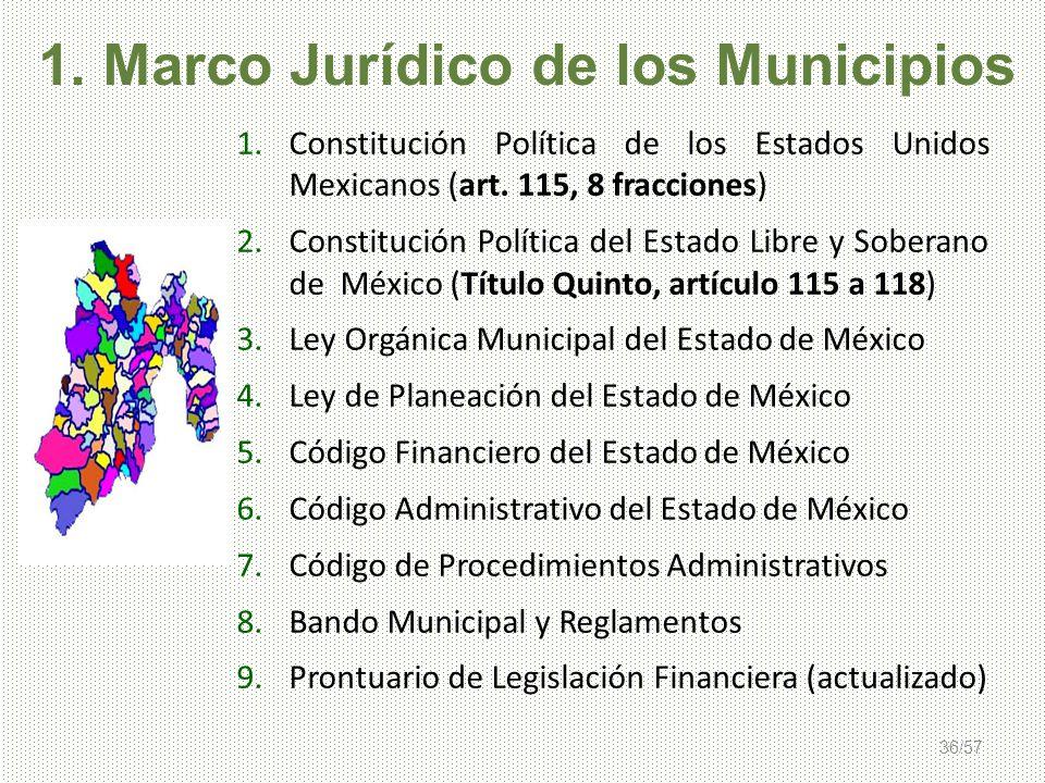 36/57 1.Constitución Política de los Estados Unidos Mexicanos (art. 115, 8 fracciones) 2.Constitución Política del Estado Libre y Soberano de México (