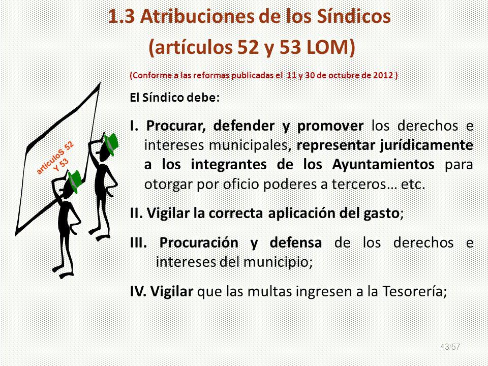 43/57 (Conforme a las reformas publicadas el 11 y 30 de octubre de 2012 ) El Síndico debe: I. Procurar, defender y promover los derechos e intereses m