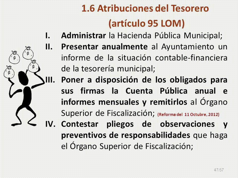 47/57 I.Administrar la Hacienda Pública Municipal; II.Presentar anualmente al Ayuntamiento un informe de la situación contable-financiera de la tesore