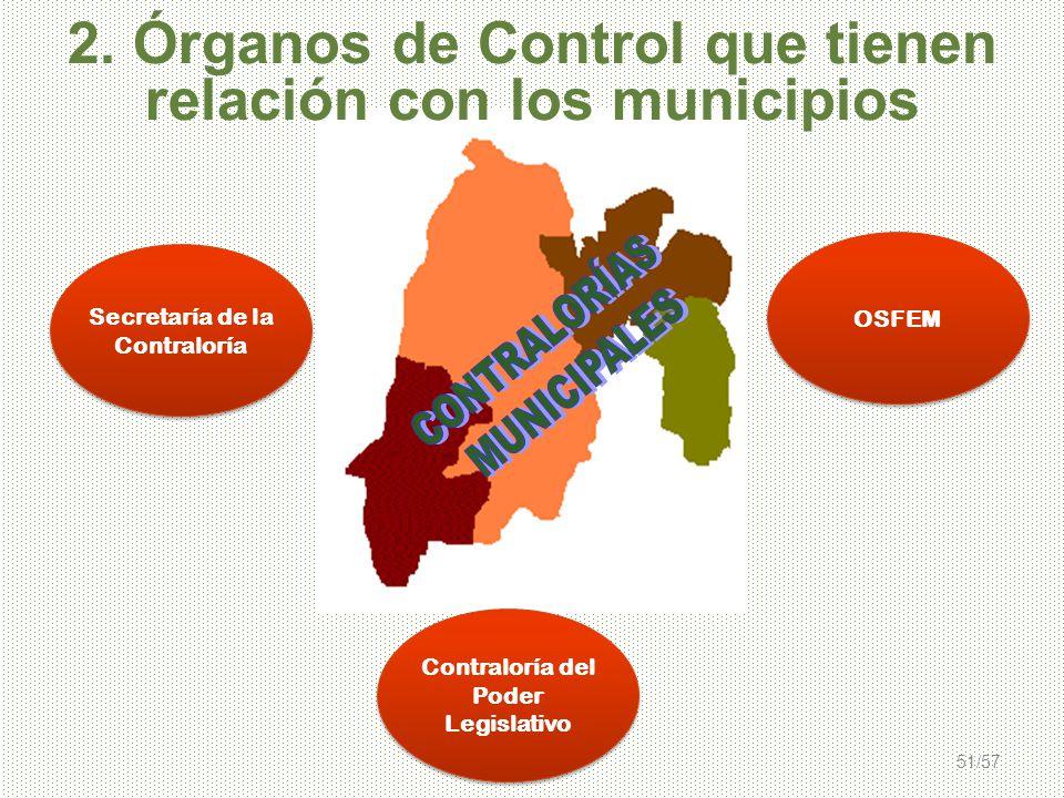 51/57 2. Órganos de Control que tienen relación con los municipios OSFEM Contraloría del Poder Legislativo Secretaría de la Contraloría