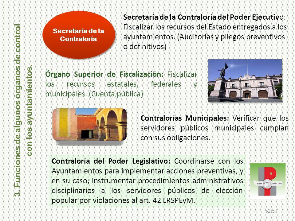 52/57 Órgano Superior de Fiscalización: Fiscalizar los recursos estatales, federales y municipales. (Cuenta pública) Contraloría del Poder Legislativo