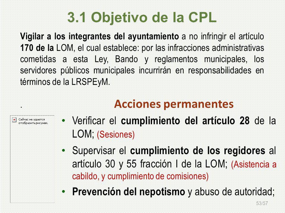 53/57 Vigilar a los integrantes del ayuntamiento a no infringir el artículo 170 de la LOM, el cual establece: por las infracciones administrativas com