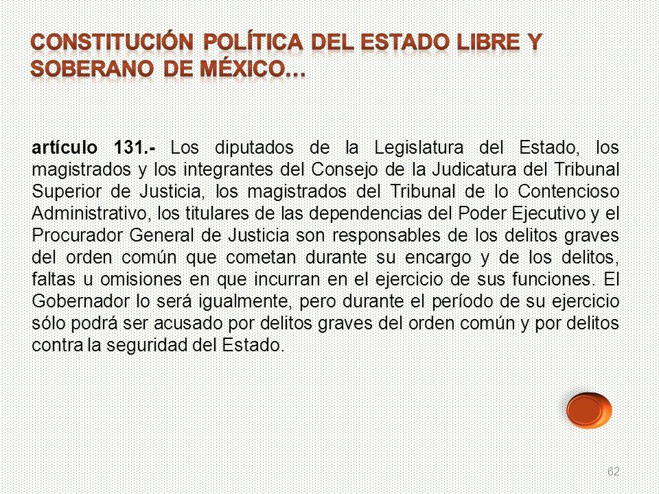 62 artículo 131.- Los diputados de la Legislatura del Estado, los magistrados y los integrantes del Consejo de la Judicatura del Tribunal Superior de