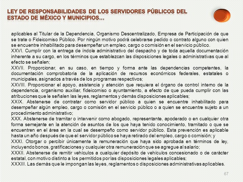67 aplicables al Titular de la Dependencia, Organismo Descentralizado, Empresa de Participación de que se trate o Fideicomiso Público. Por ningún moti