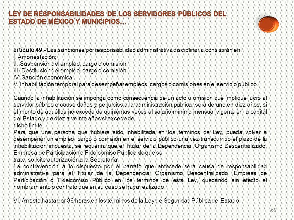 68 artículo 49.- Las sanciones por responsabilidad administrativa disciplinaria consistirán en: I. Amonestación; II. Suspensión del empleo, cargo o co