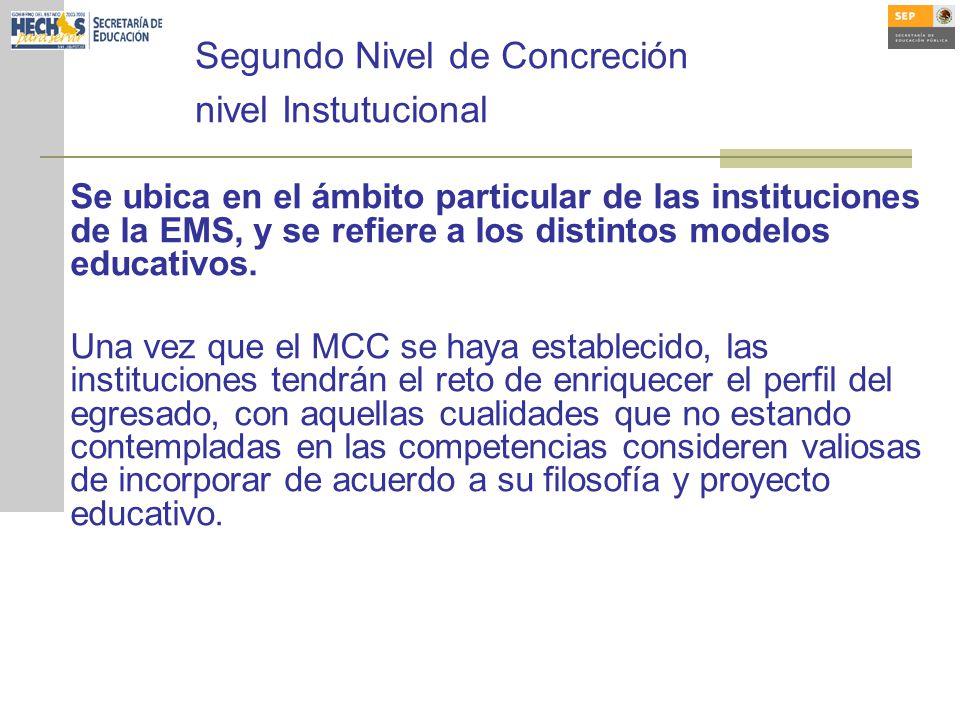 Segundo Nivel de Concreción nivel Instutucional Se ubica en el ámbito particular de las instituciones de la EMS, y se refiere a los distintos modelos educativos.