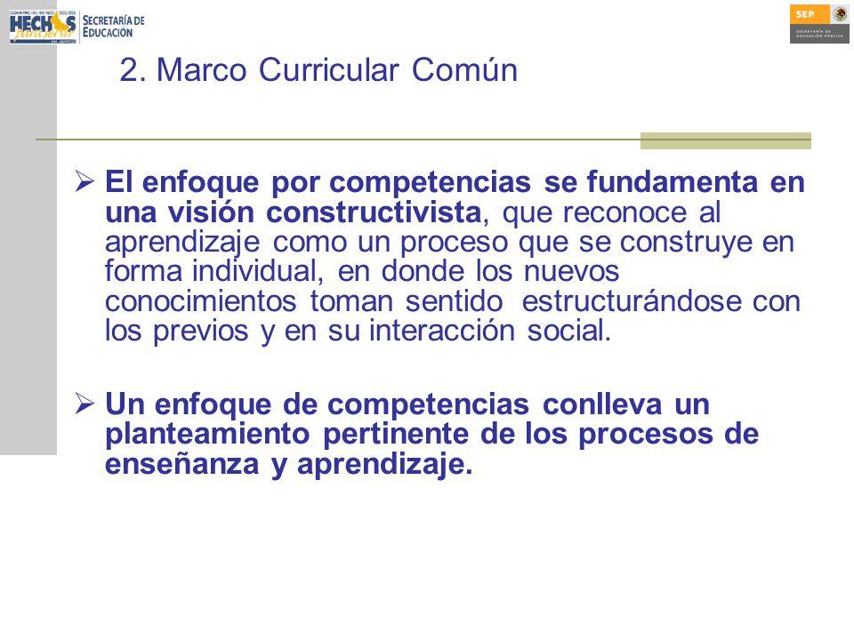2. Marco Curricular Común El enfoque por competencias se fundamenta en una visión constructivista, que reconoce al aprendizaje como un proceso que se