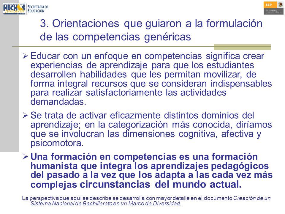 3. Orientaciones que guiaron a la formulación de las competencias genéricas Educar con un enfoque en competencias significa crear experiencias de apre