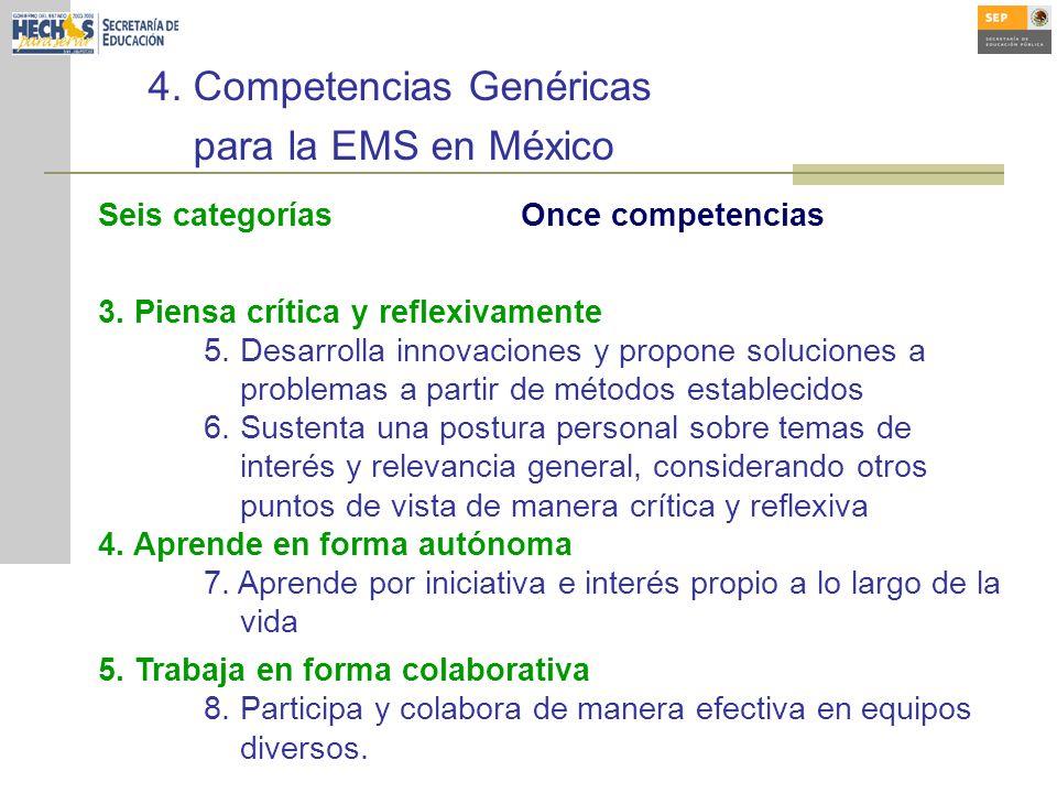 4.Competencias Genéricas para la EMS en México Seis categoríasOnce competencias 3.