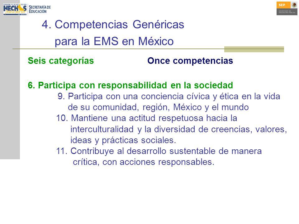 4.Competencias Genéricas para la EMS en México Seis categoríasOnce competencias 6.