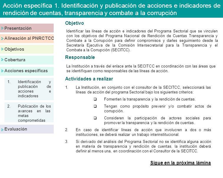 Responsable Objetivo La Institución a través del enlace ante la SECITCC en coordinación con las áreas que se identifiquen como responsables de las líneas de acción.