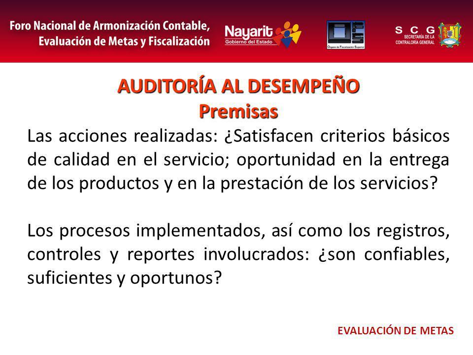 AUDITORÍA AL DESEMPEÑO Premisas Las acciones realizadas: ¿Satisfacen criterios básicos de calidad en el servicio; oportunidad en la entrega de los productos y en la prestación de los servicios.