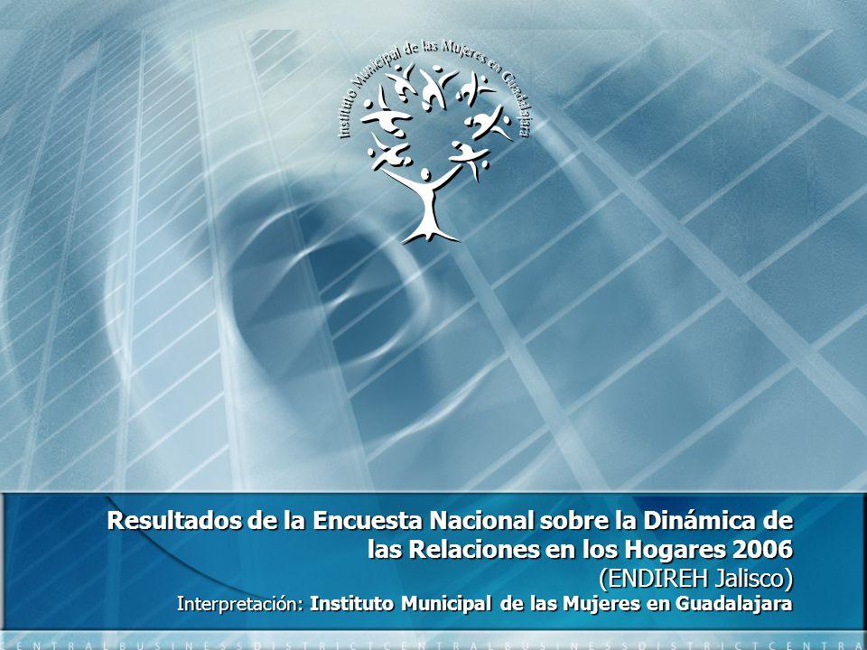 Resultados de la Encuesta Nacional sobre la Dinámica de las Relaciones en los Hogares 2006 (ENDIREH Jalisco) Interpretación: Instituto Municipal de las Mujeres en Guadalajara