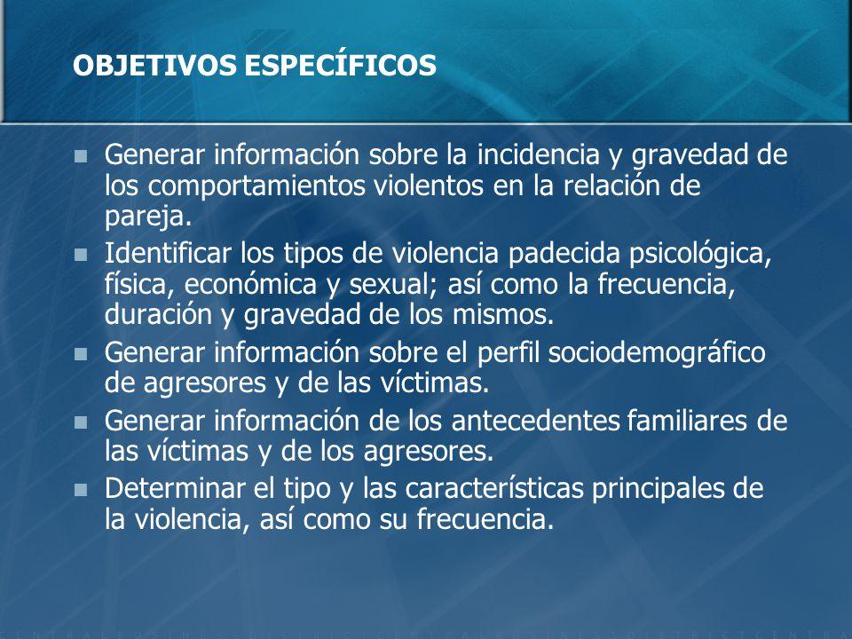 OBJETIVOS ESPECÍFICOS Generar información sobre la incidencia y gravedad de los comportamientos violentos en la relación de pareja.