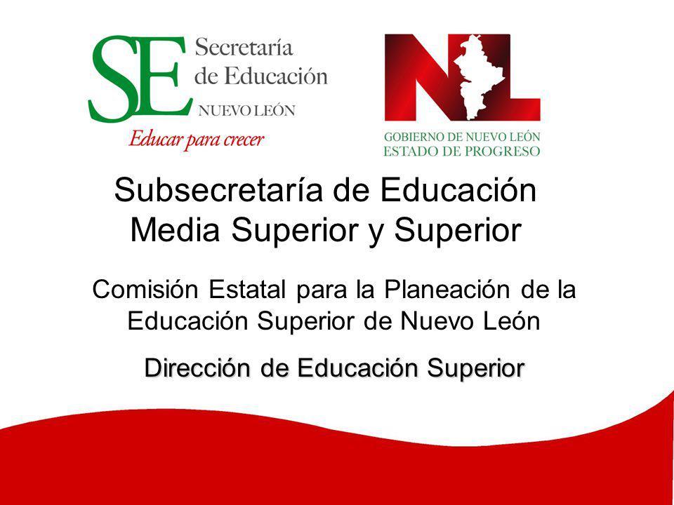Subsecretaría de Educación Media Superior y Superior Comisión Estatal para la Planeación de la Educación Superior de Nuevo León Dirección de Educación