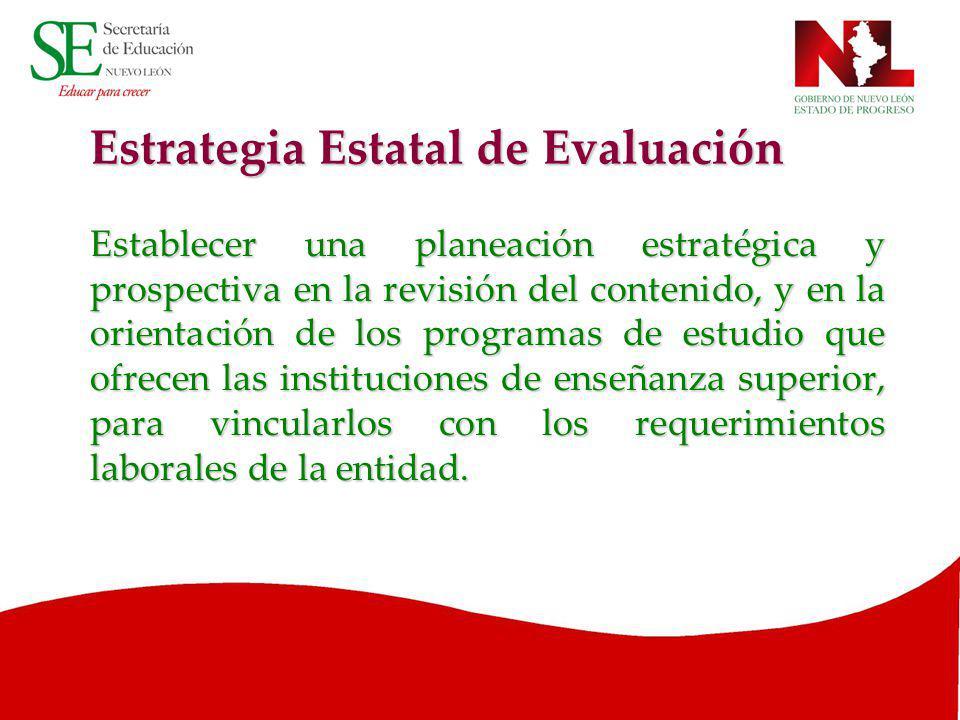 Estrategia Estatal de Evaluación Establecer una planeación estratégica y prospectiva en la revisión del contenido, y en la orientación de los programa