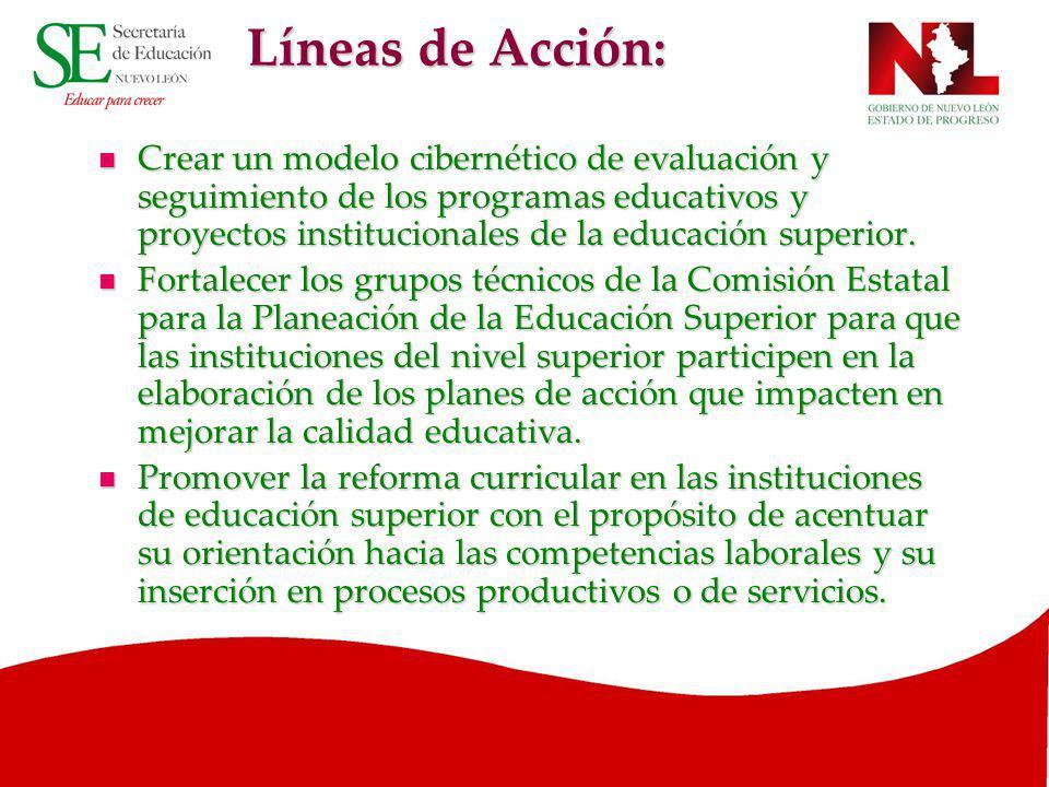 Líneas de Acción: Crear un modelo cibernético de evaluación y seguimiento de los programas educativos y proyectos institucionales de la educación supe